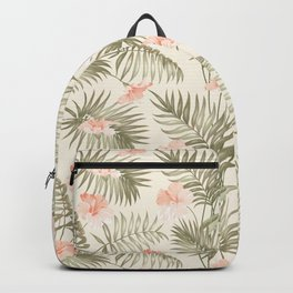 Pastel green blush coral vector tropical floral pattern Backpack