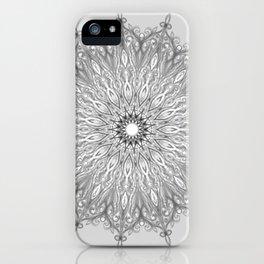 Gray Swirl Mandala light gray iPhone Case
