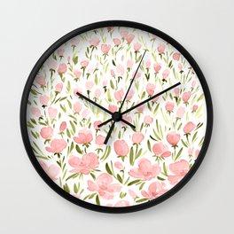 Field of pink flowers Wall Clock
