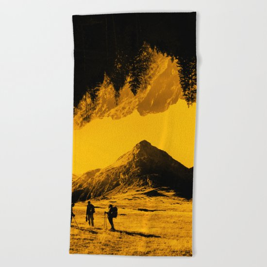 Hello threes of yellow isolation Beach Towel