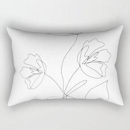 Poppies Minimal Line Art Rectangular Pillow