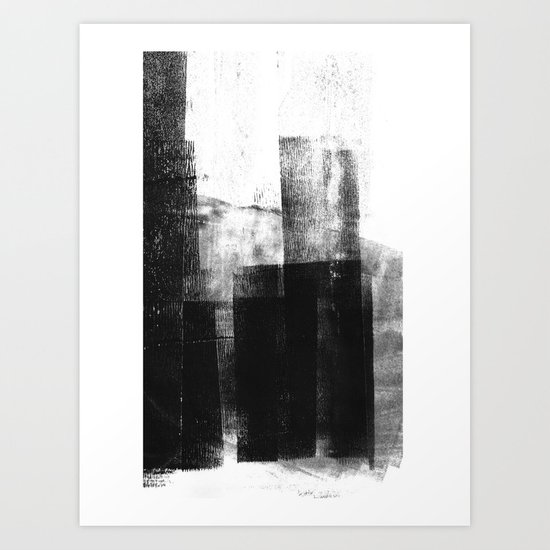 Black White Grey Abstract Monotype by mininst