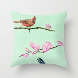 Red Robin with Floral Accents Throw Pillow