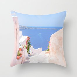Santorini Greece Mamma Mia Pink Street Throw Pillow