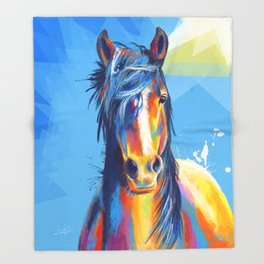 Horse Beauty - colorful animal portrait Throw Blanket