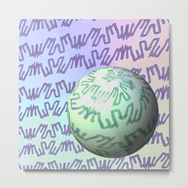 Pattern goes uphill with bowl Metal Print