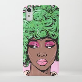 Green Kawaii Black Comic Girl iPhone Case