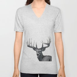 The Majestic Trophy Buck - Deer Graphite Pencil Drawing - by Julio Lucas Unisex V-Neck