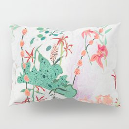Abstract Jungle Floral on Pink and White Pillow Sham