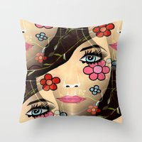 blossom Throw Pillows featuring Blossom by Sartoris ART