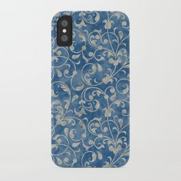 Damask Denim Blue Background with Flowering Vine Floral in Mottled Gray iPhone Case