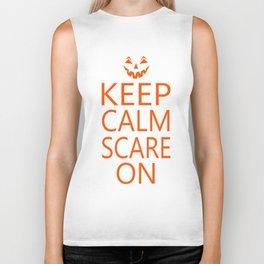 Keep Calm Sacre On Pumpkin Face Biker Tank