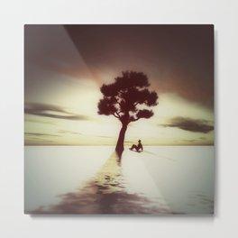 Tree on Water Metal Print