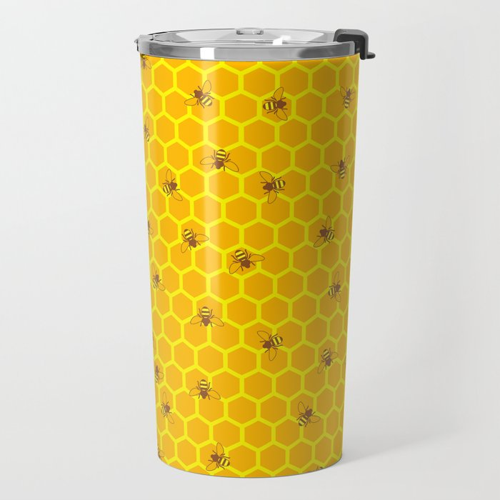 Mind Your Own Beeswax / Bright honeycomb and bee pattern Travel Mug