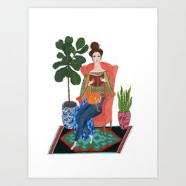 Cat lady reading Art Print