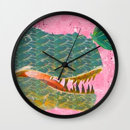 Dinosaur and Butterfly in Pink and Green Wall Clock