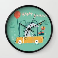 happy birthday Wall Clocks featuring Happy birthday! by Villie Karabatzia