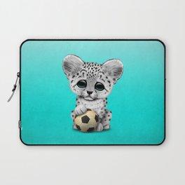 Snow leopard Cub With Football Soccer Ball Laptop Sleeve