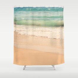 beach. Sea Glass ocean wave photograph. Shower Curtain