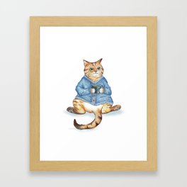 Tea time with monocle cat Framed Art Print