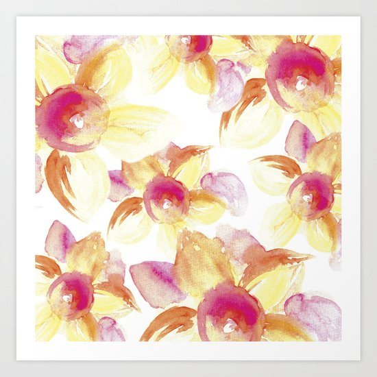 Sunflowers Watercolor Art Print