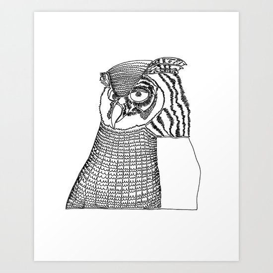 Single Line Art Print : Owl one line drawing art print by liner artwork