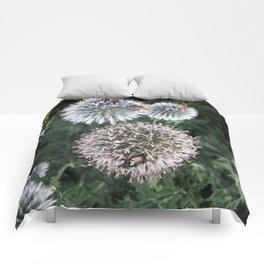 Bees on wildflowers in the summer garden 2 Comforters