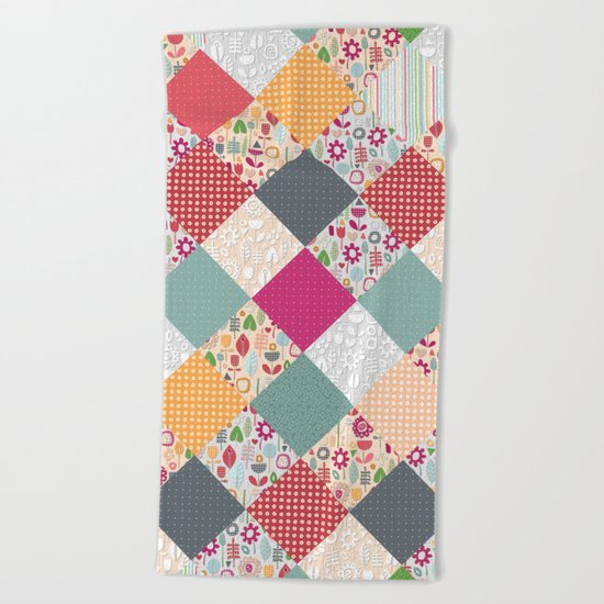 paper cut flower diamonds Beach Towel