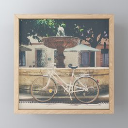 cycling across France on this pretty white bicycle Framed Mini Art Print