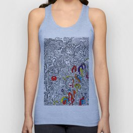 Pattern Doddle Hand Drawn  Black and White Colors Street Art Unisex Tank Top
