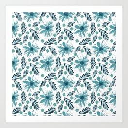 Teal blue wabi sabi floral print Art Print