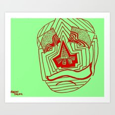 Mask #1: Eyes of Rain  (Green and Red) Art Print