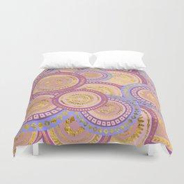Circular Ethnic  pattern pastel gold purples, blue Duvet Cover