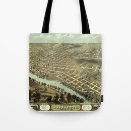 Bird's Eye View of Lafayette, Indiana (1868) Tote Bag