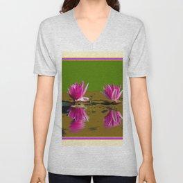 Fuchsia Water Lilies Green Art Unisex V-Neck