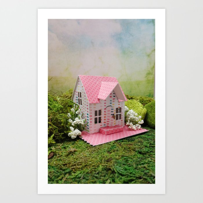 Pink Cottage Art Print