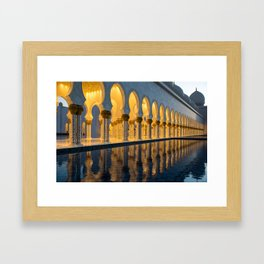 Sheikh Zayed Mosque at night Framed Art Print