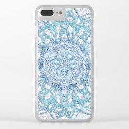 Aqua Lace Mandala Clear iPhone Case