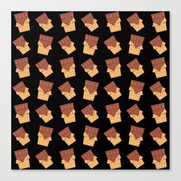 Funny sweet delicious yummy chocolate bars in golden wrappers pattern. Cute retro vintage chocolates Canvas Print