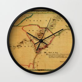 Map Of South Carolina 1827 Wall Clock
