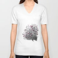 hedgehog V-neck T-shirts featuring Hedgehog by Linette No