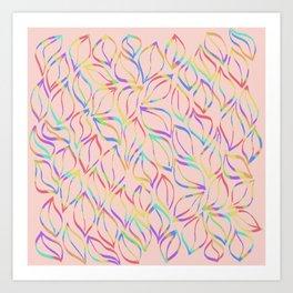 Rainbow Petals on Pink Art Print