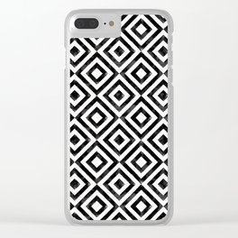 Black and white watercolor diamond pattern Clear iPhone Case