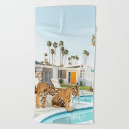 Tigers at the Pool Beach Towel
