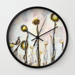 Bird Sings the Sunflower Blues Wall Clock