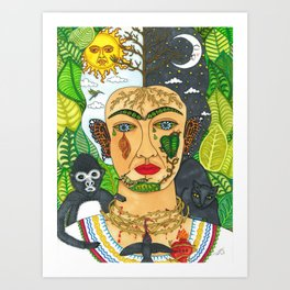 Frida Kahlo Monarca Art Print