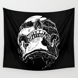Carnibal / Ink Skull / White Wall Tapestry