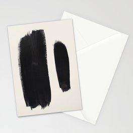 Mid Century Modern Minimalist Abstract Art Brush Strokes Black & White Ink Art Brush Strokes Stationery Cards