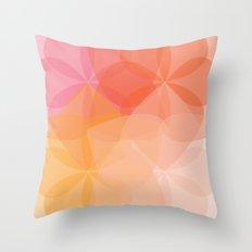Geometric Flower Coral Peach Orange Pink Throw Pillow