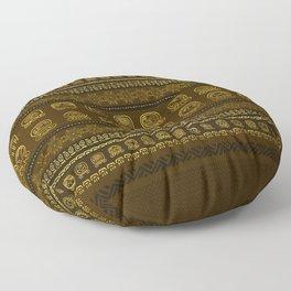 Maya Calendar Glyphs pattern Gold on Brown Floor Pillow